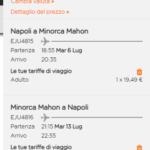 Offerta volo Napoli-Minorca Luglio 2021